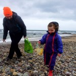 Suse and Caitlin shell hunting on Westport Beach.